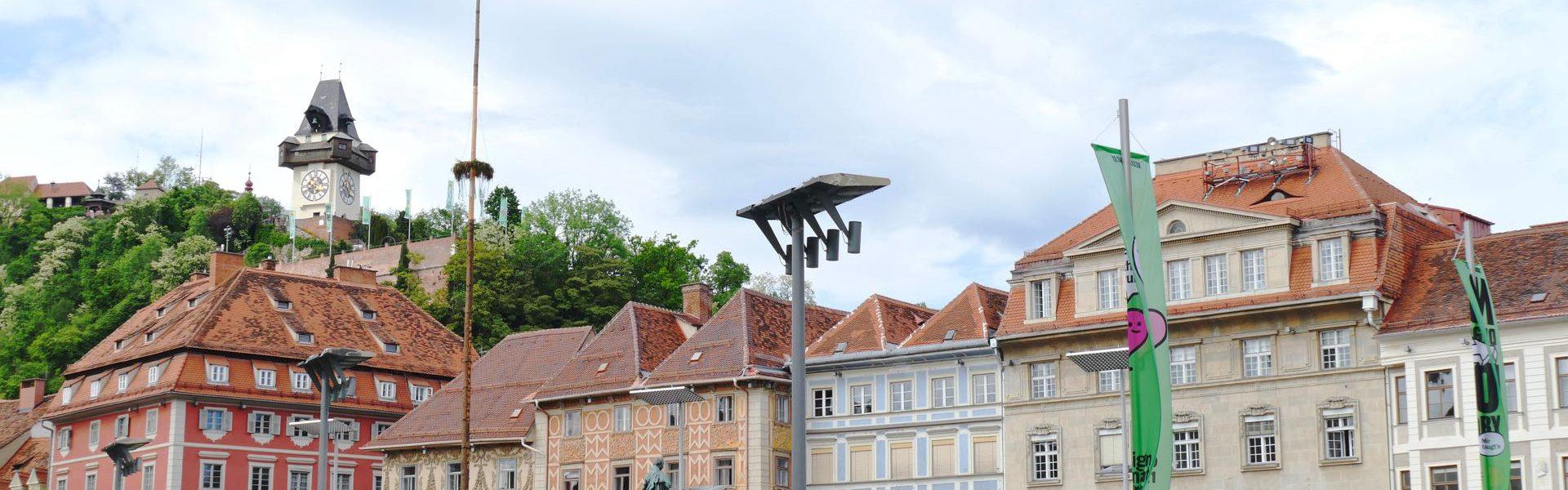 Graz main square clock tower
